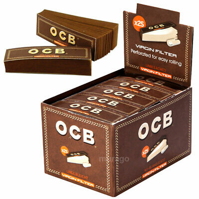 OCB 25er Box Filtertips Virgin Unbleached BRAUN FILTER  50 Tips Preforation NEU