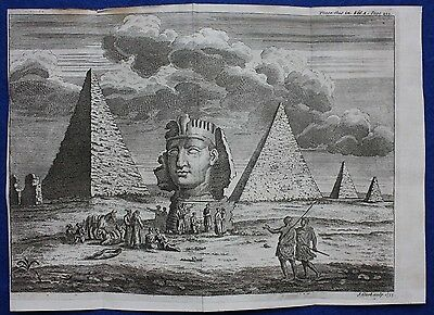 Original antique print PYRAMIDS, SPHINX, ANCIENT EGYPT, 'Universal History',1747