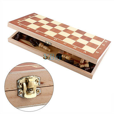 Durable Wooden Large Folding Chess Board & Chess Pieces Set Storage Box Case ES