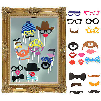 Photo Booth Large Picture Frame &Pack of 24 X photo props Funny Faces Party Fun