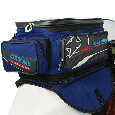 Oxford Motorcycle Motorbike Lifetime X40 Expander Tank Bag Back Pack Blue 40L