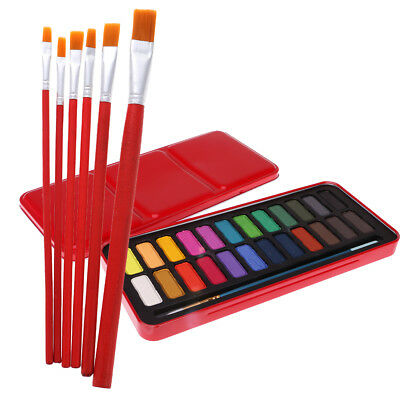 24 Color Watercolor Paints Painting Craft with 6 Nylon Red Paint Brushes Set
