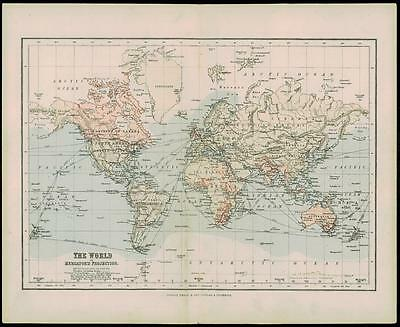 1900 Antique Colour Map of THE WORLD ON MERCATOR'S PROJECTION (24)