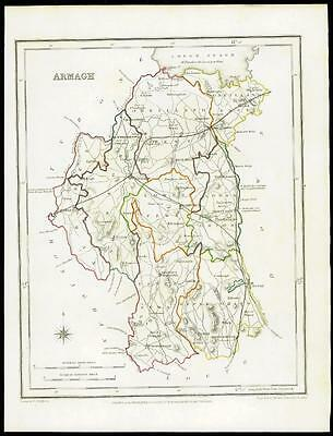 IRELAND 1845 Original Antique Map of ARMAGH by Lewis & Co