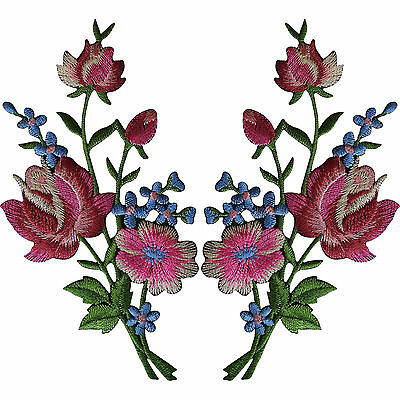 Pair of Flower Embroidered Rose Patches Iron Sew On Floral Patch Arts and Crafts