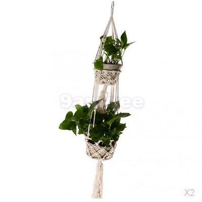 2x Double-Deck Plant Hanger 110cm Macrame 4 Legs For Indoor Outdoor Pot Holder