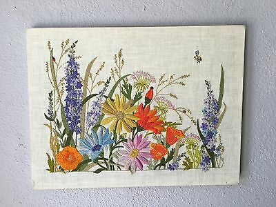 """Vintage Embroidery Floral Flowers Spring Picture 18"""" x 25"""" Fabric Art Handmade"""
