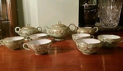 Antique Hand Painted Nippon Gold Beaded Moriage 11 Pc Tea Set Light Green RARE