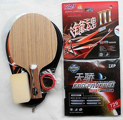4x Carbon + 729 Faster III Custom-made Table Tennis Bat, Fast Attack, OZ Seller