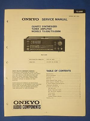 Onkyo Tx-890 M Receiver Service Manual Original Factory Issue The Real Thing