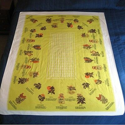 Vintage Printed Cotton Tablecloth Yellow Herbs 66 by 52 Inches