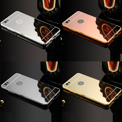 New Luxury Aluminum Ultra-thin Metal Mirror + Back Case Cover Bumper For Huawei