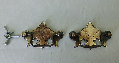 2 Vintage Brass? Metal Drawer Pulls Cabinet Dresser Door Handles w Screws