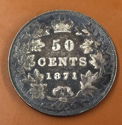 1871 Canada Half 50 Cent Coin Canadian Fifty Cents