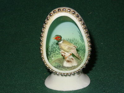 RARE Vintage Antique Bone China Egg with Miniature Pheasant Diorama Collectible