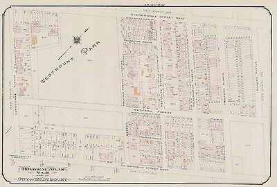 1913, Charles E. Goad, Montreal, Canada, Westmount Park Victoria Hall Atlas Map