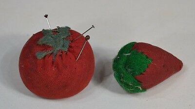 sewing emery apple,tomato & strawberry hand made small 2 in. antique original