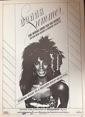 DONNA SUMMER - ORIGINAL 1 PAGE ADVERT FROM 1980s No1 MAGAZINE