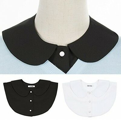 2 Pack Women's Detachable Dickey Shirt Collar, Peter Pan Button White+Black