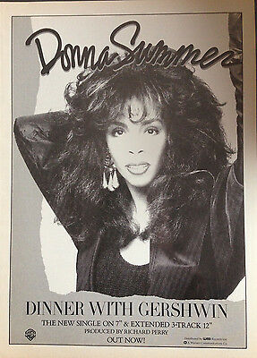 DONNA SUMMER. DINNER WITH GERSHWIN. ORIGINAL 1 PAGE ADVERT FROM 80s No1 MAGAZINE