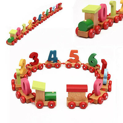 Baby Toddler Child Wooden Digital Small Train Number Educational Toy