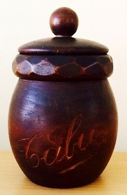 French Hand-carved Wooden Tabac Jar.