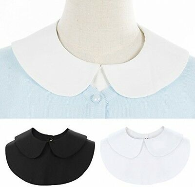 2 Pack Women's Detachable Dickey Shirt Collar, Peter Pan White+Black