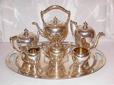 Seven Piece Reed & Barton Sterling Silver Coffee & Tea Set with Tray and Kettle