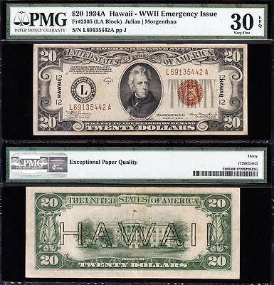 "Awesome Choice VF+ 1934 A $20 ""HAWAII"" FRN Note! PMG 30 EPQ! FREE SHIP L69135442"
