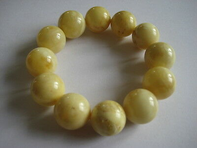 Bernsteinarmband Baltic Amber Bracelet Weiß-Gelb White-Yellow 17 mm Beads