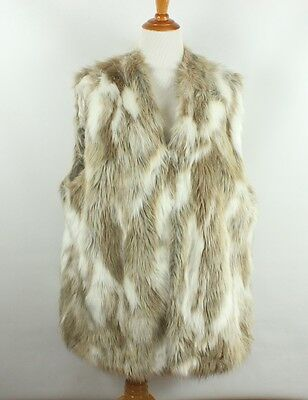 New Nwt Adrienne Landau Beige Faux Fur Long Vest Size 3X Sleeveless Jacket Coat