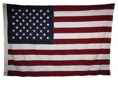 4x6 ft USA American 50 Star 100% Cotton Flag 4'x6' Banner Grommets Embroidered