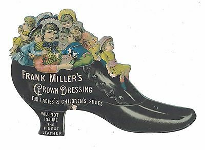 Die Cut Frank Miller's Shoe Dressing Victorian Trade Card