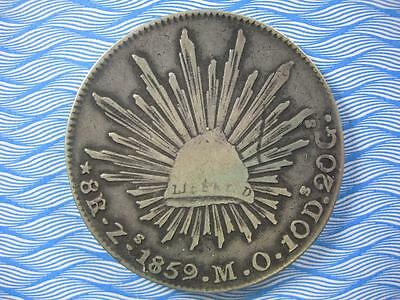 MEXICO - 1859 Zs MO Cap & Ray silver 8 Reales CROWN - uncleaned original - F-VF