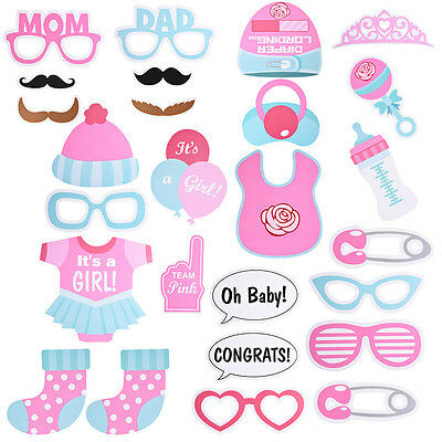 25pcs/Set Cute Cartoon Baby Shower Photo Booth Props Funny Paper Birthday Party