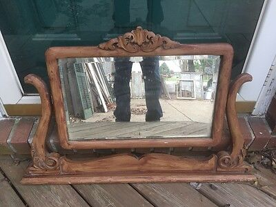 Antique Oak Mirror Yoke For Highboy Chest Painted