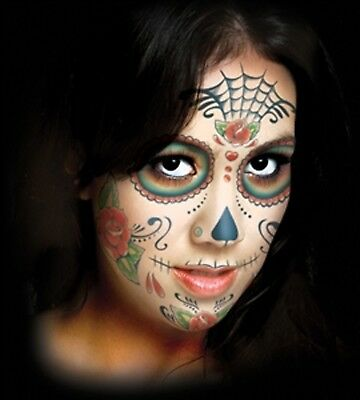 Sugar Skull Day of the Dead Face Temporary Tattoo Tinsley FX makeup Costume