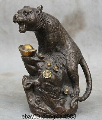 China Bronze Carving Wealth Money Yuanbao Zodiac Year Tiger Tigers Aniaml Statue