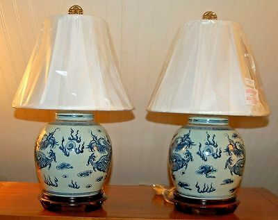 PAIR Chinese Ming Style DRAGON Ginger Jasr LAMPS Vases Porcelain Blue & White