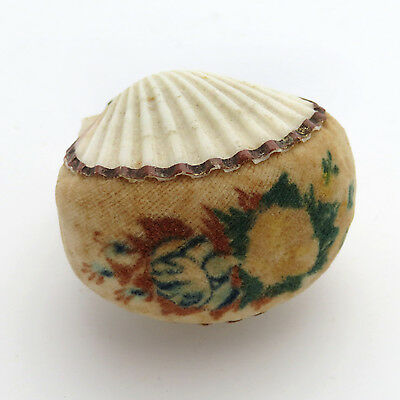 Antique 19th c. Velvet Theorem Sea Shell Sewing Pin Cushion