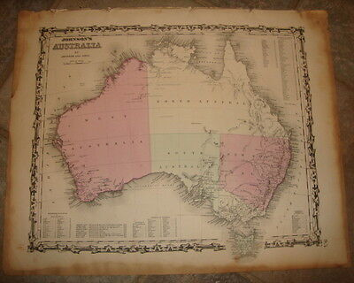 1863 ORIGINAL, AUSTRALIA, Hand Colored, large, Johnson antique map