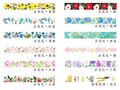 Japan Flowers Theme Masking Printing Tape Washi Ppaper Decoration Tapes 15mm*7M