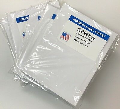 "1000 BLOCKOUT 8.5"" x 5.5"" Half Sheet Shipping Labels *COVER MISTAKES UNDERNEATH*"