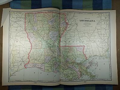 "LOUISIANA Map 1901 Antique Original  Crams 22.5""x14.5"" New Orleans MAPZ18"