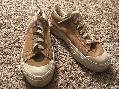 Vintage Vans Made In USA 90's Suede Tan Taupe Brown Half Moon. Toe, Size 8.5