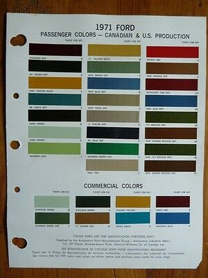 1971 Ford Passenger & Commecial paint chip color guide  USA & CDN Production