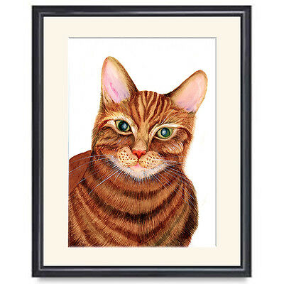 ACEO / ATC Ginger Cat Print from Original Watercolour Painting Wildlife Tom Cat