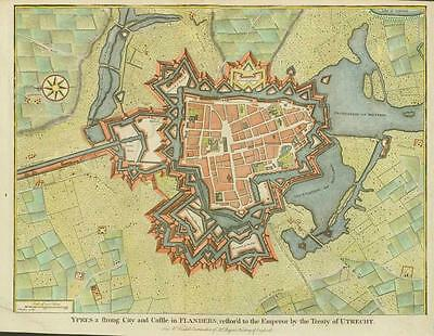 """c1750 PLAN of """"YPRES"""" Belgium Flemish Flanders Fortifications Military MAP"""
