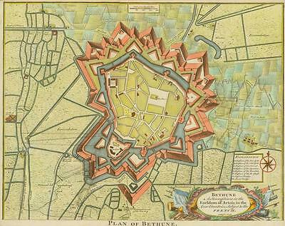 """c1750 FRANCE """"PLAN OF BETHUNE"""" Calais Fortifications Military ANTIQUE MAP"""