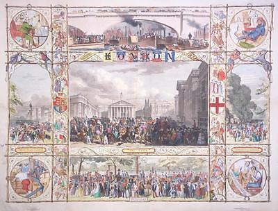 "1851 LONDON - Huge Rare Antique Print ""LONDON"" Beautifully Hand Coloured"